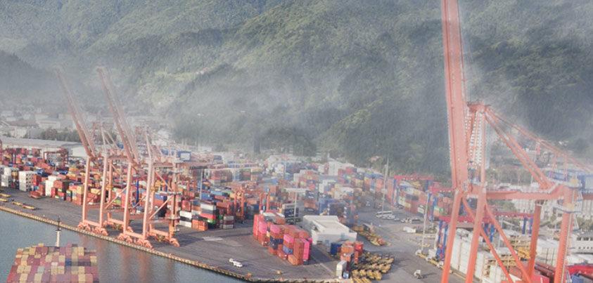 Port with hazy air