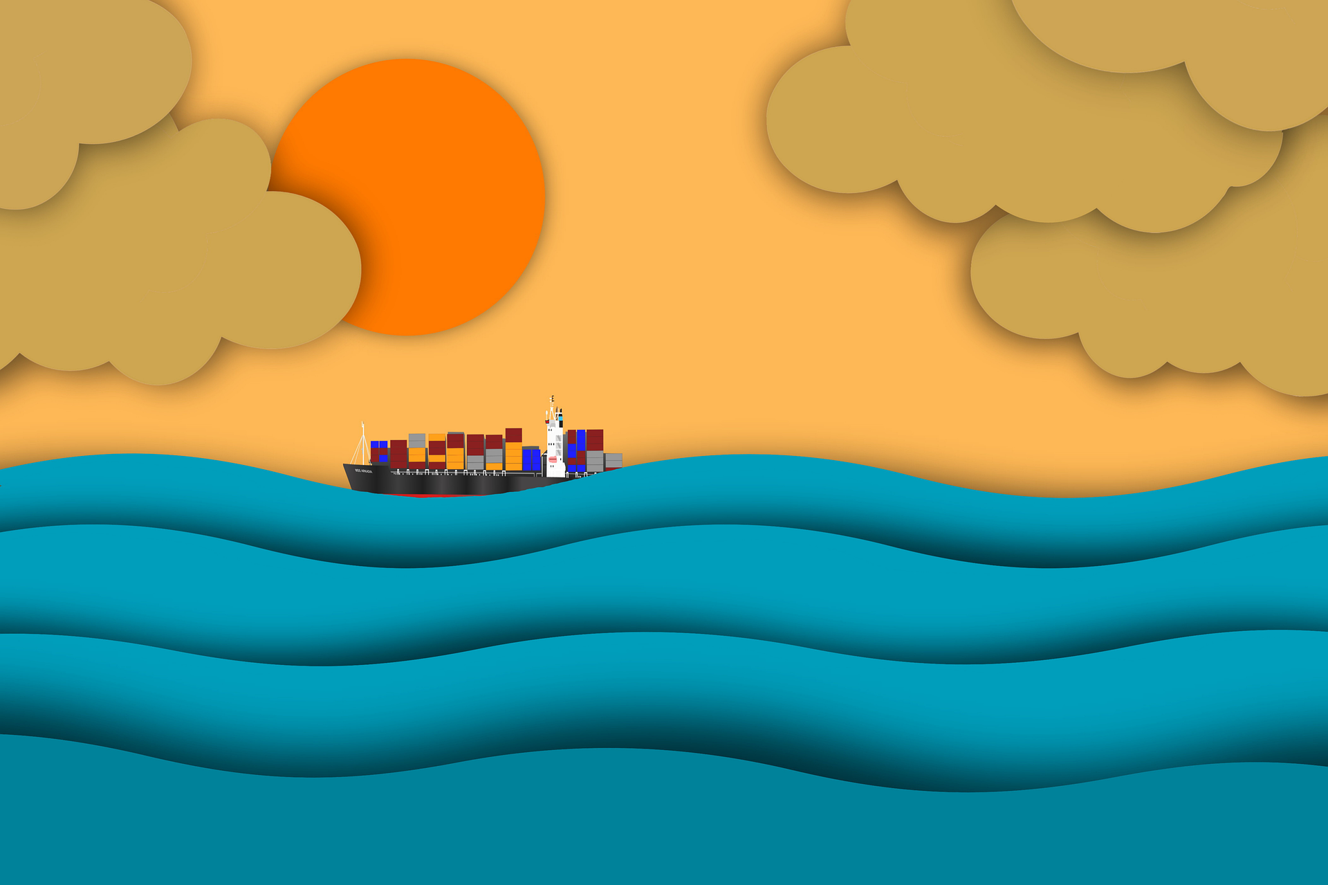 Cargoship sunrise 5863751 1920