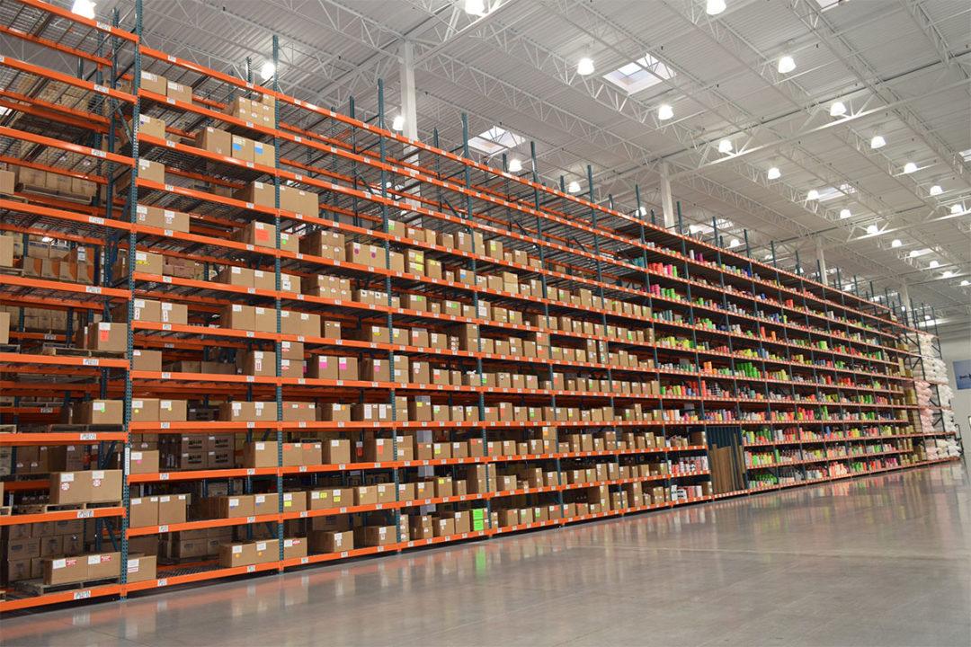 Rows of well-lit racks