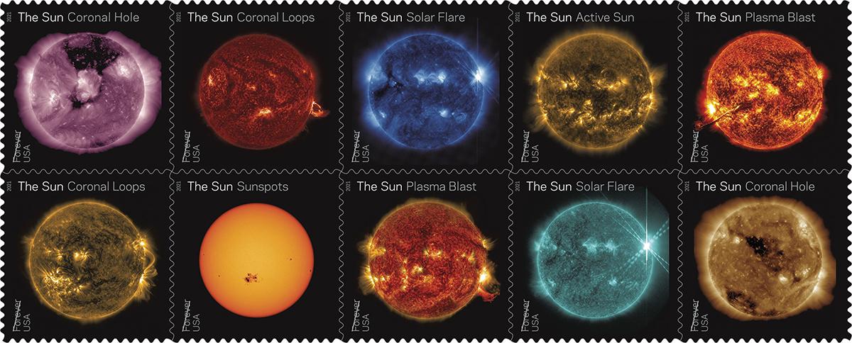 Postal sun science stamps