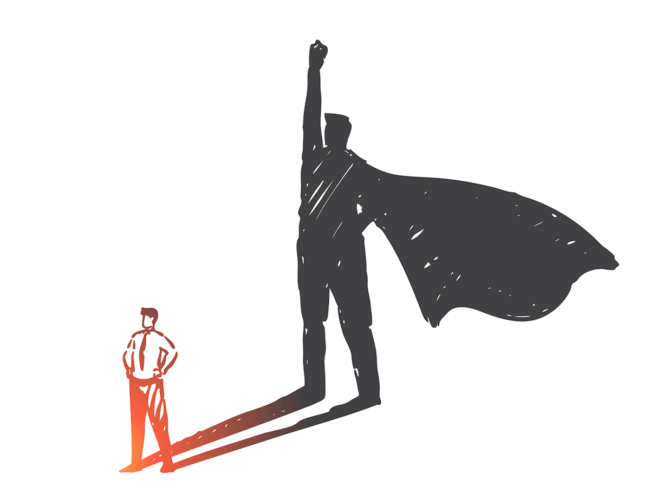 Businessman whose shadow is a large caped superhero