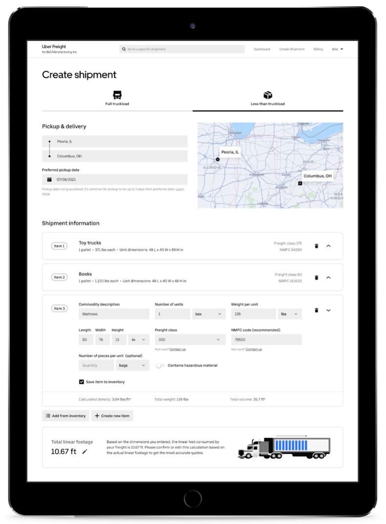 Uber freight screen shot 2021 07 14 at 5.33.08 pm