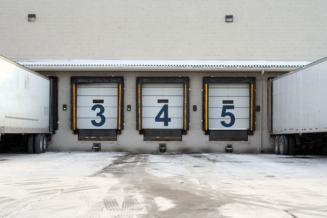 Outside view of warehouse dock doors
