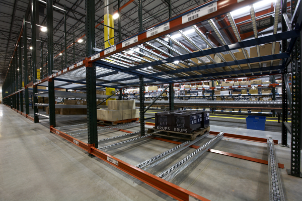 Photo: Wide shot of pallet flow rack
