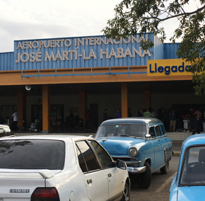 Classic cars at Havana's Jose Marti International Airport