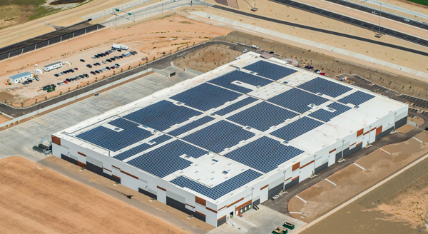 Aerial view REI Goodyear, Arizona, distribution center with rooftop solar panels