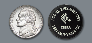 Zebra RFID tag is about the size of a nickel