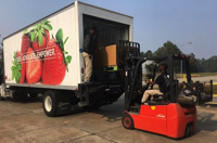 Loading food donations into truck