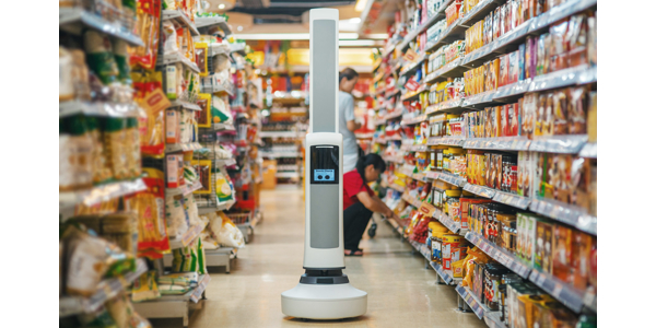 Mobile robot tracks inventory on store shelves
