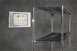 WarehouseOS screen and shelving