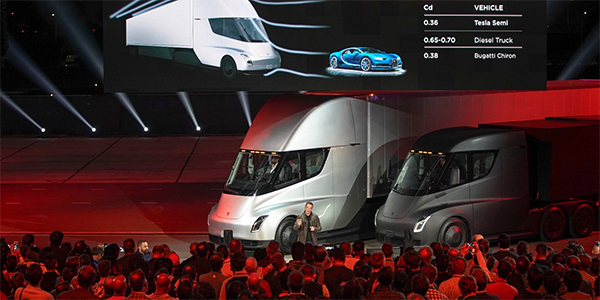 Tesla unveils electric semi tractor with 500-mile range
