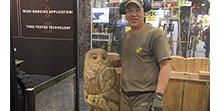 Wood carving auctioned by Hyster