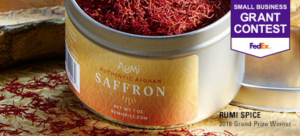 A tin of Rumi Spice saffron
