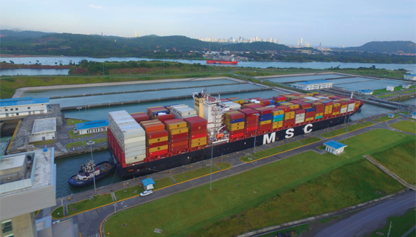 Containership at Panama Canal