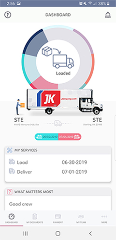 JK Moving Services app