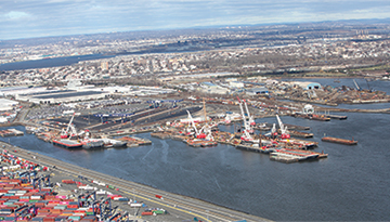 New Jersey port aerial shot