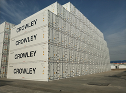 Crowley containers stacked up