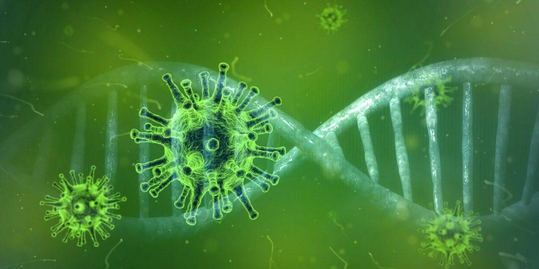 Coronavirus floating in front of DNA strand