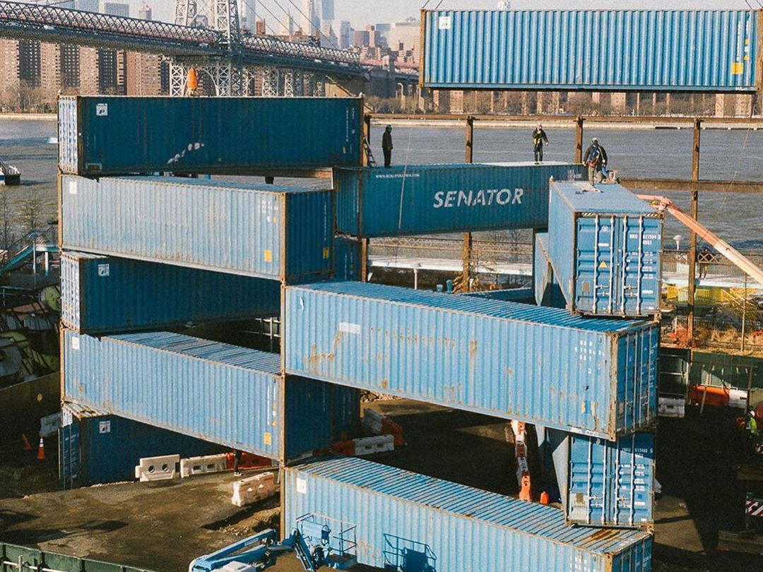 Containers stacked