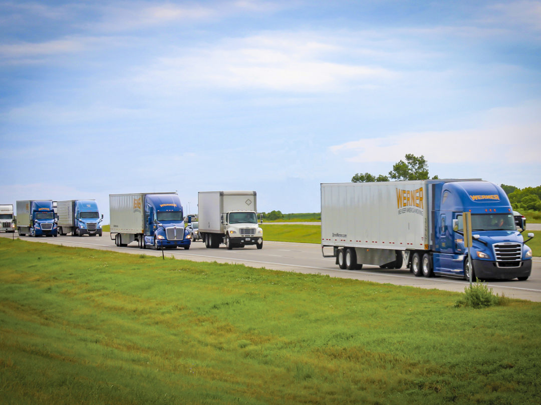 Werner trucks on the road
