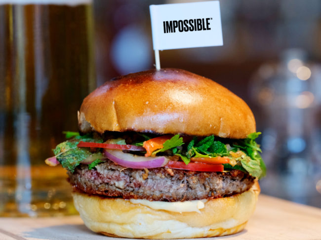 Burger with flag in it that says Impossible