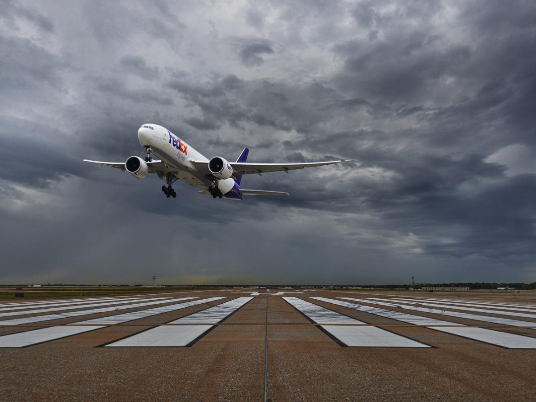 FedEx plane taking off