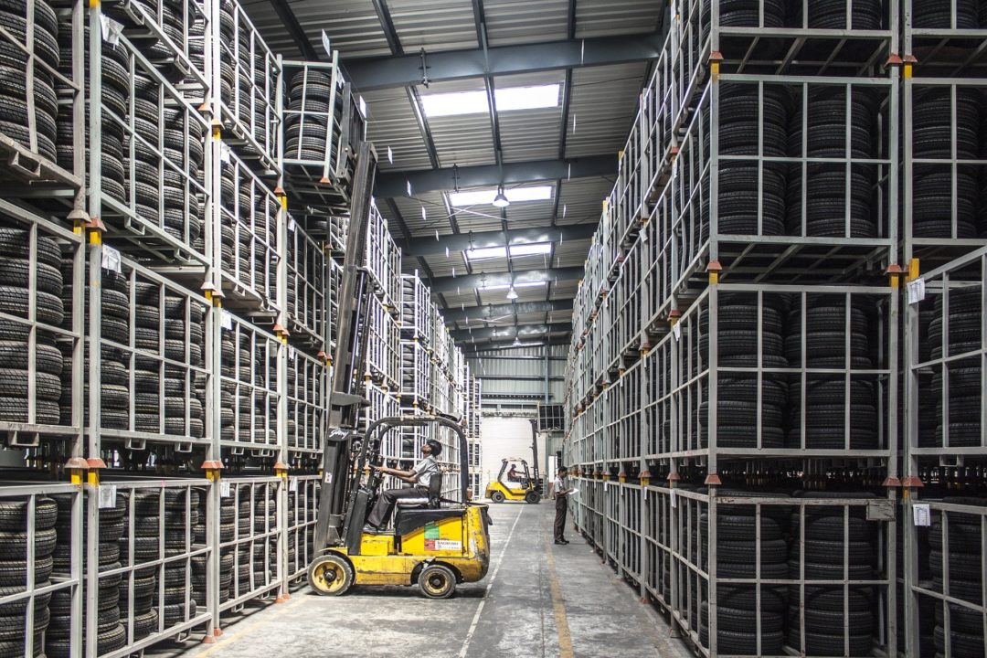 warehouse space forklift