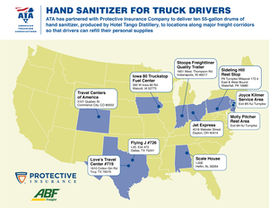 Map of hand sanitizer locations for truck drivers