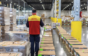 DHL employee in distribution center