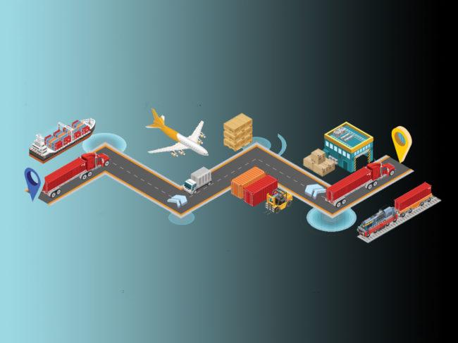 Trucks, train, ship, plane, lift truck, warehouse