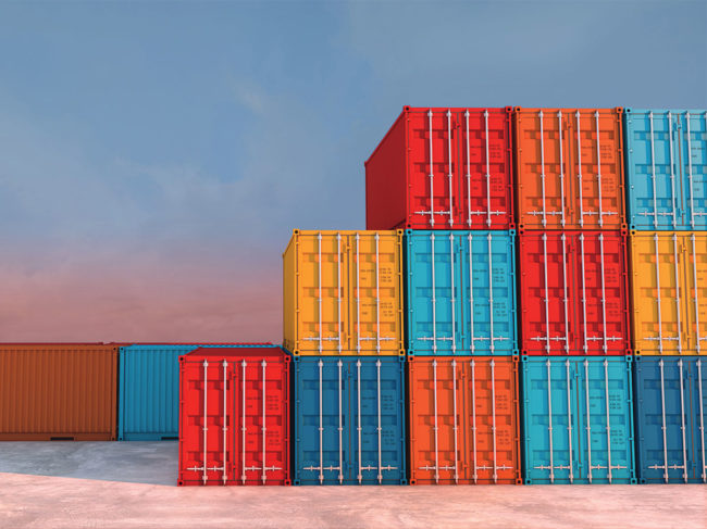 Stacked intermodal containers