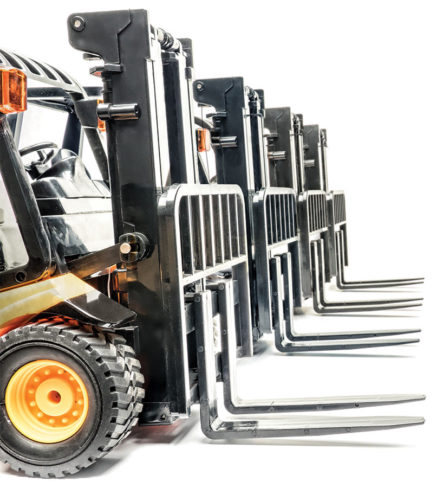 Forklift trucks lined up