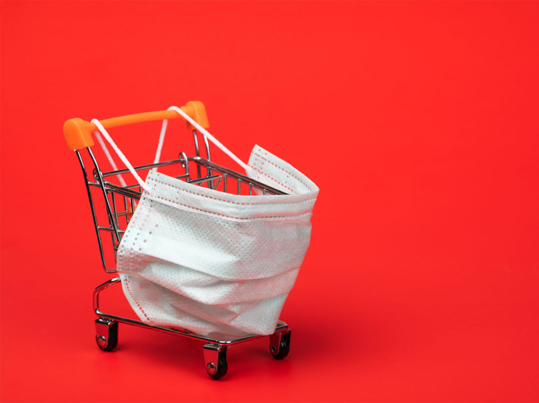 Shopping cart with mask on front