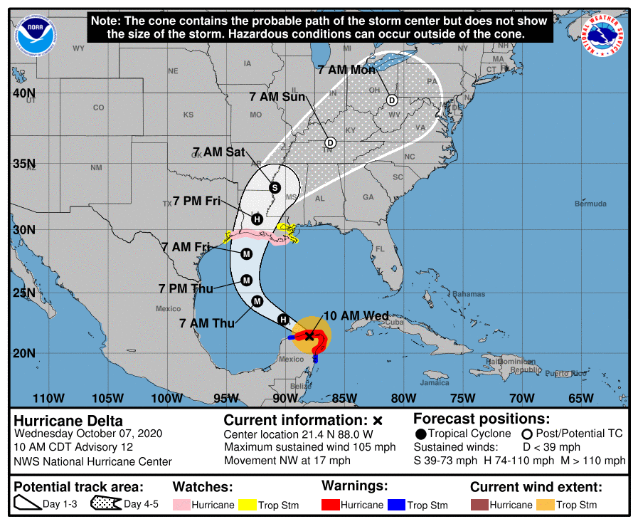 hurricane delta map