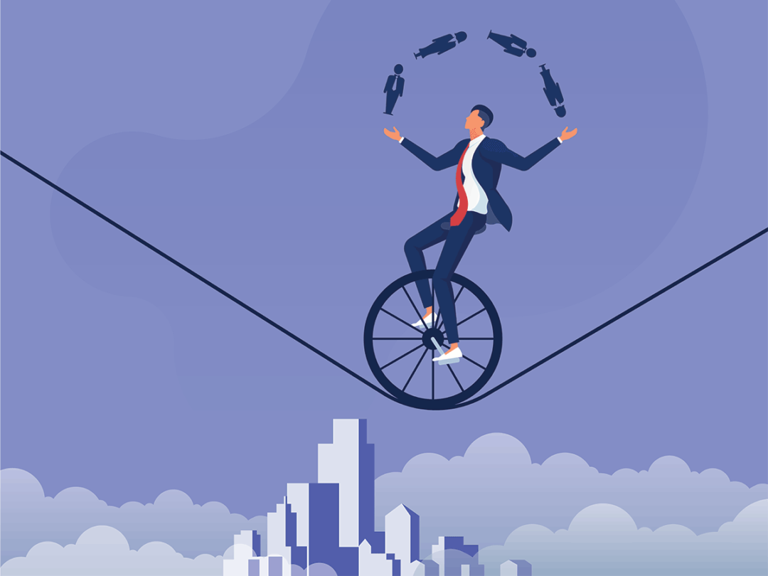 Businessman riding unicycle on tightrope juggling people