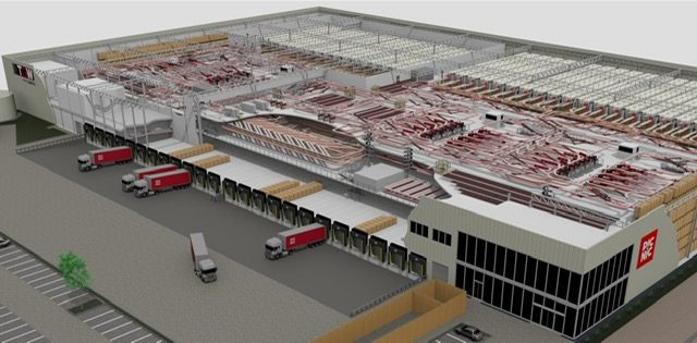 Aerial view of new Picnic fulfillment center in the Netherlands