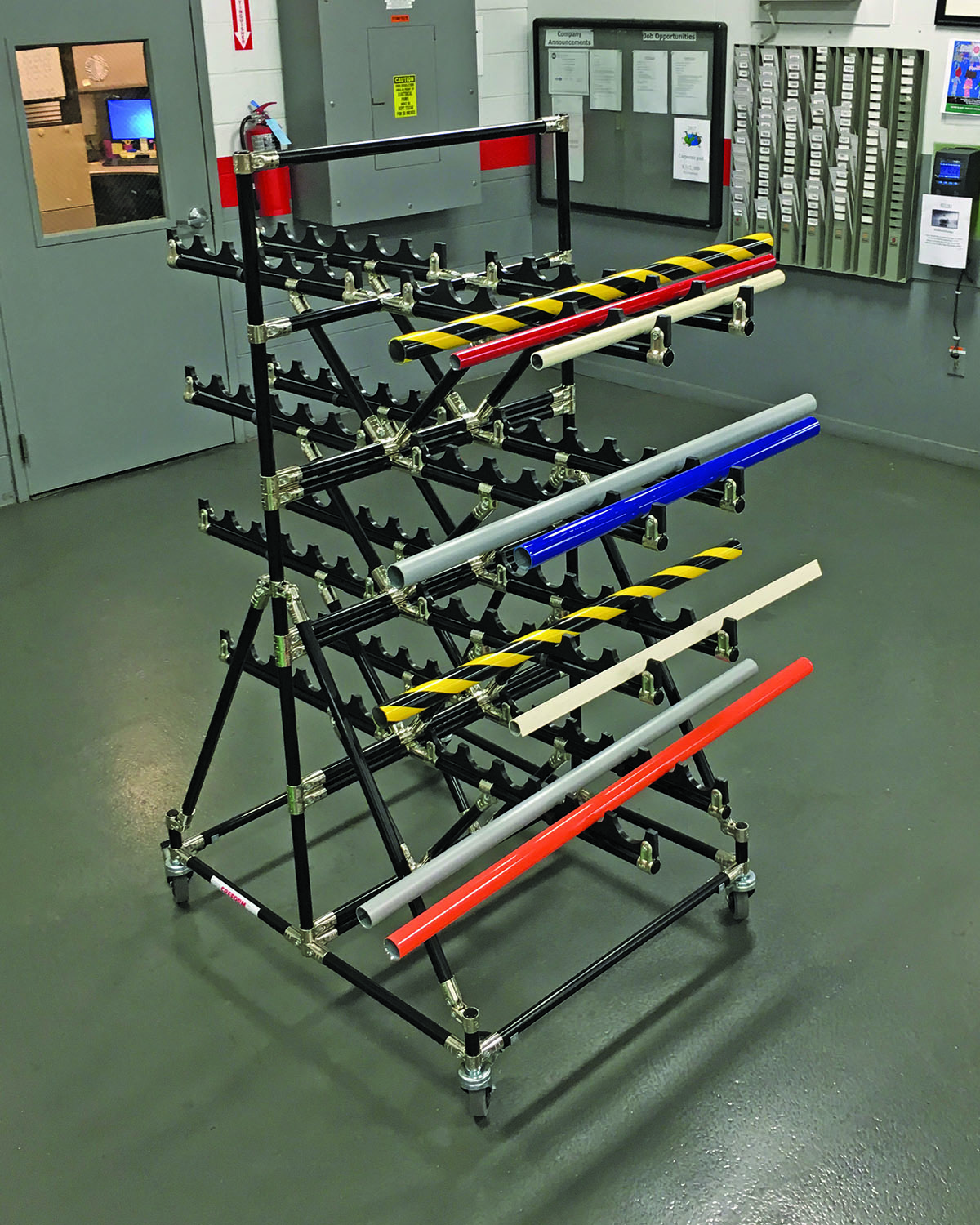 Cantilevered cart ideal for transporting parts from warehouse to assembly