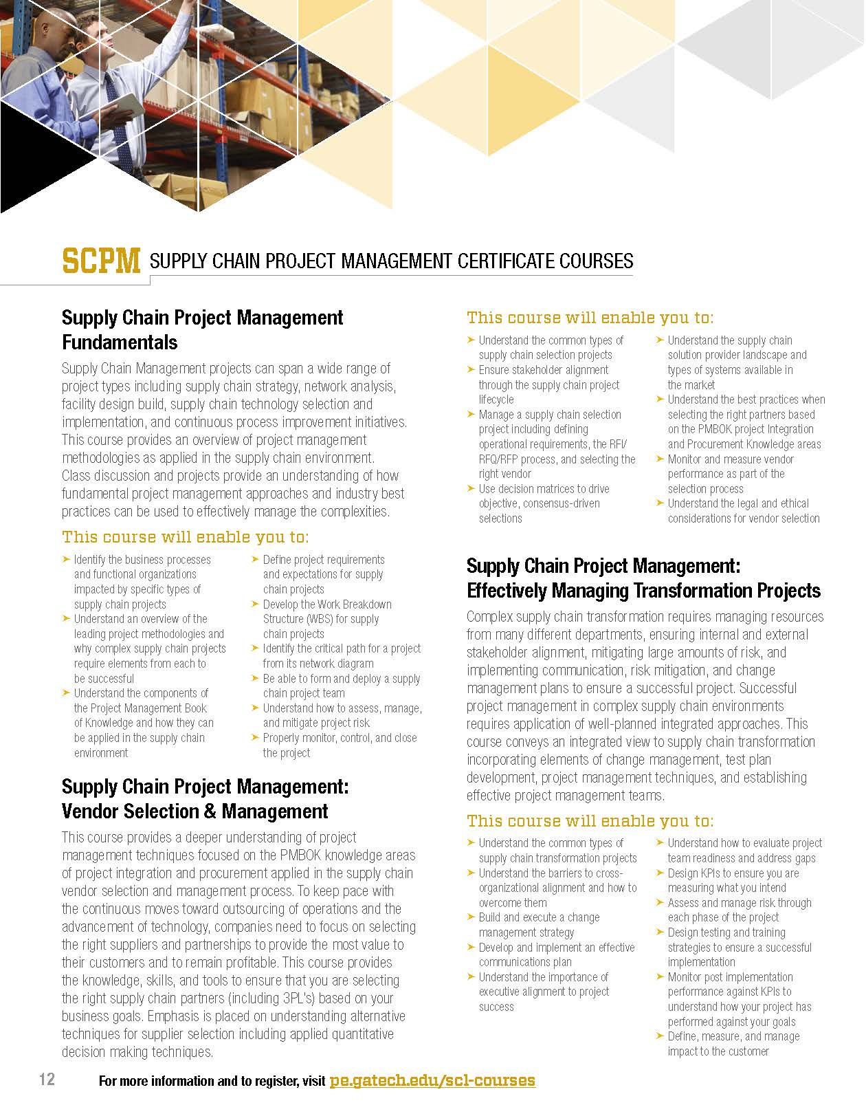 Georgia Tech Offers Supply Chain Project Management (SCPM