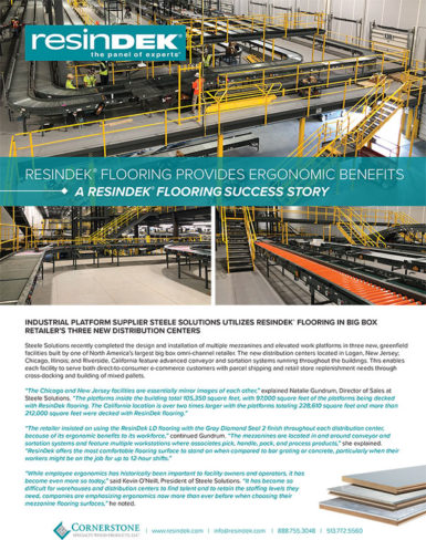 Cornerstone: Big box retailer utilizes ResinDek® flooring for ergonomic benefits