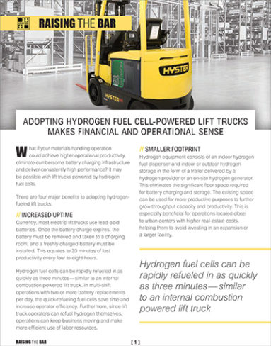 Hyster: Adopting Hydrogen Fuel Cell-Powered Lift Trucks Makes Financial and Operational Sense