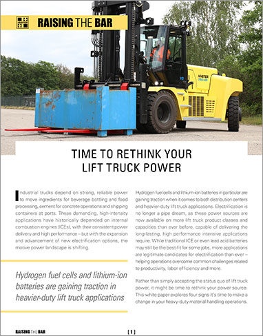 Hyster: Time to rethink your lift truck power