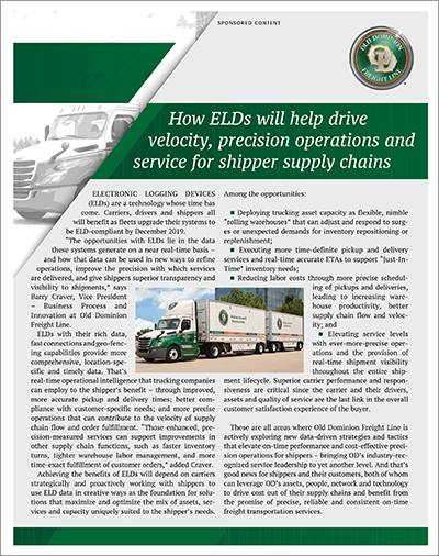 How ELDs will help drive velocity, precision operations and service for shipper supply chains