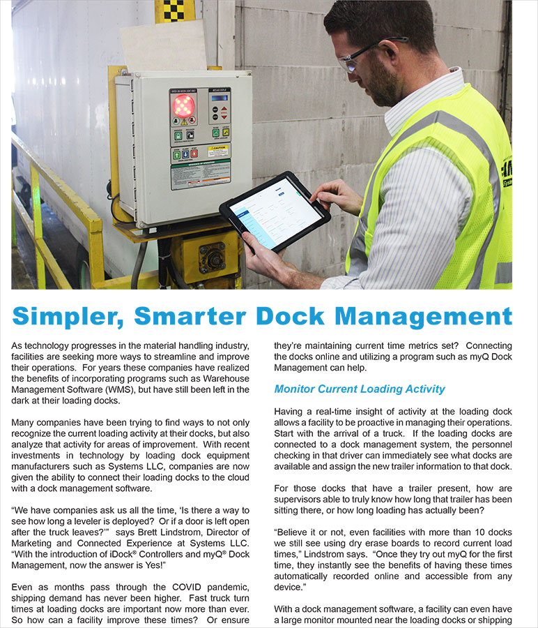 Systems llc simpler smarter dock management cover