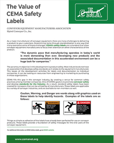Cema the value of safety labels cover