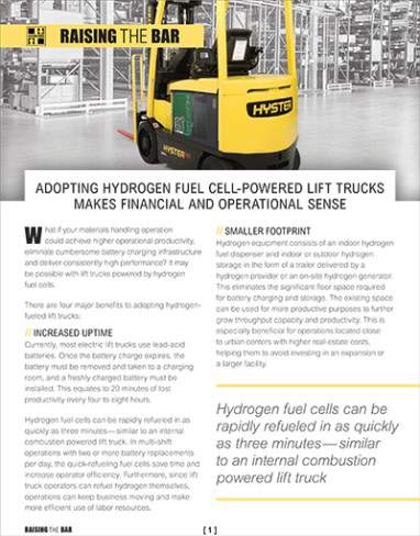 Hyster adopting hydrogen fuel cell powered lift trucks cover