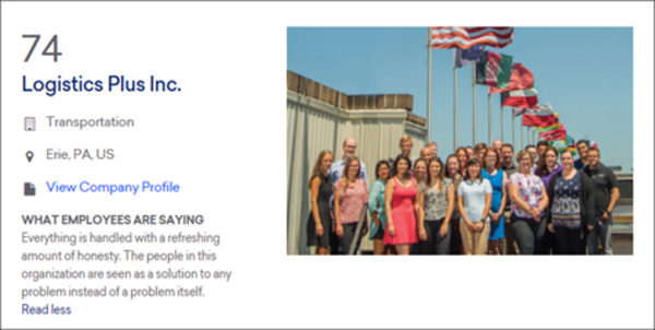 Logistics Plus Once Again Named a Best Medium-Sized Workplace by Great Place to Work® and FORTUNE