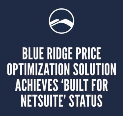 Blue Ridge Price Optimization Solution Achieves 'Built for NetSuite' Status