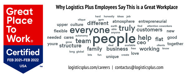 Logistics Plus Re-Certified as a 'Great Place to Work' for a Fourth Straight Year
