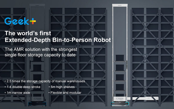 Geek+ releases world's first Extended-Depth Bin-to-Person robot, reaching new heights of AMR R&D