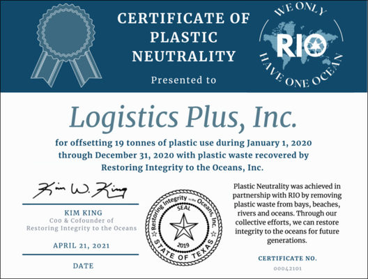 Logistics Plus is First Corporate Sponsor to Enroll in the RIO Plastic Neutrality Program